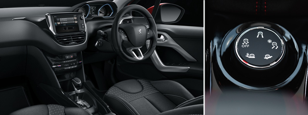Peugeot 2008 SUV interior and driving modes dial